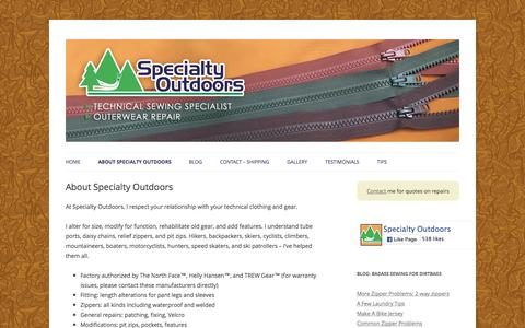 Screenshot of About Page specialtyoutdoors.com - About Specialty Outdoors - Specialty Outdoors - captured May 30, 2016