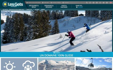 Screenshot of Menu Page lesgets.com - Station de ski Alpes, Haute-Savoie LES GETS - Vacances, week-end famille - captured May 17, 2017