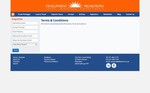Screenshot of Terms Page devprom.co.za - Terms & Conditions - captured Oct. 5, 2014