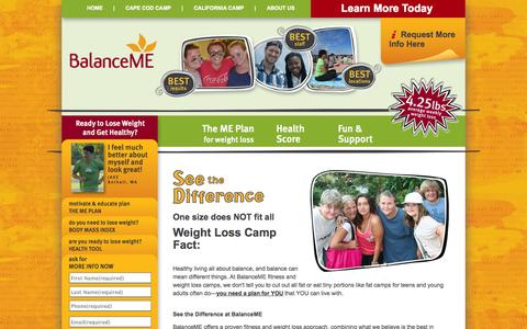 Screenshot of Home Page Site Map Page balanceme.com - Weight Loss Camp | Health Camp | BalanceME - captured Sept. 30, 2014