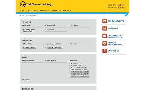 Screenshot of Site Map Page ltfinanceholdings.com - L&T Finance Holdings : Sitemap - captured Oct. 1, 2014