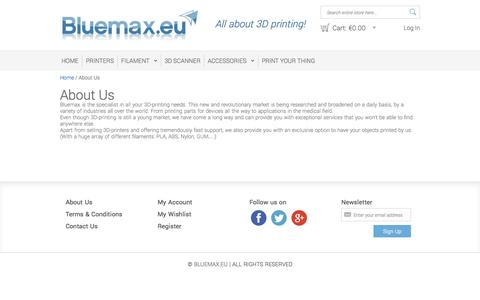 Screenshot of About Page bluemax.eu - About Us - captured Sept. 30, 2014