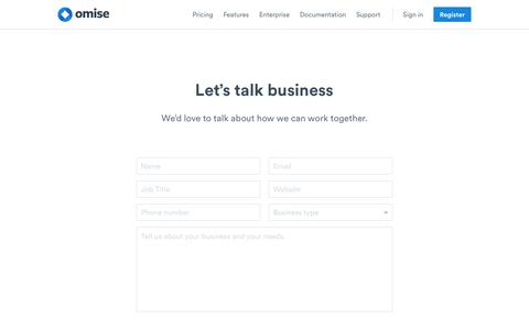 Screenshot of Contact Page omise.co - Omise: Contact - captured Dec. 6, 2016