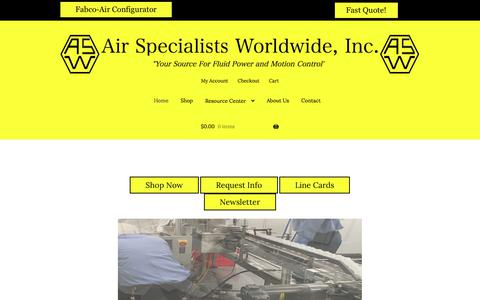 """Screenshot of Home Page airspec.com - Air Specialists Worldwide, Inc. – """"Your Source for Fluid Power and Automation Control Products"""" - captured Sept. 24, 2018"""