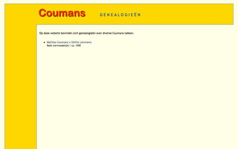 Screenshot of Home Page ralfcoumans.nl - Genealogieën Coumans - captured Oct. 12, 2015