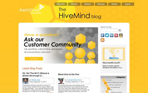 Screenshot of Blog aerohive.com - Aerohive Networks - captured Sept. 13, 2014
