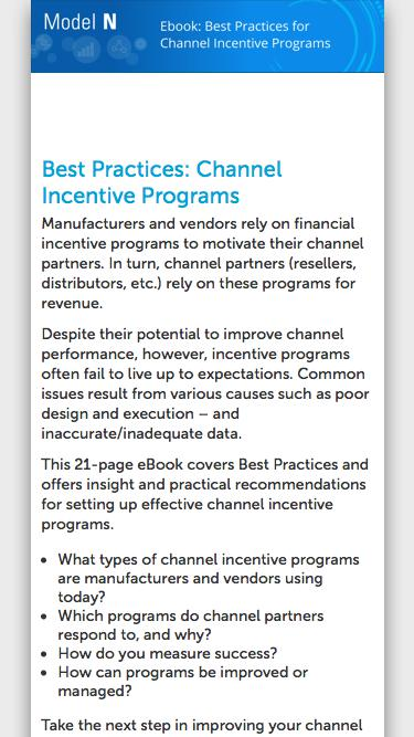 Channel Incentive Programs Best Practices eBook | Model N