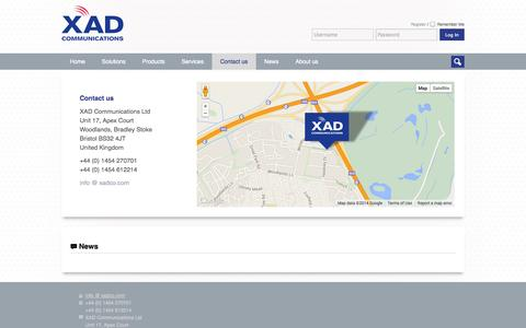 Screenshot of Contact Page xadco.com - XAD Communications  » Contact us - captured Oct. 3, 2014