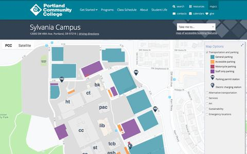 Screenshot of Maps & Directions Page pcc.edu - Campus Map at PCC - captured Sept. 16, 2019