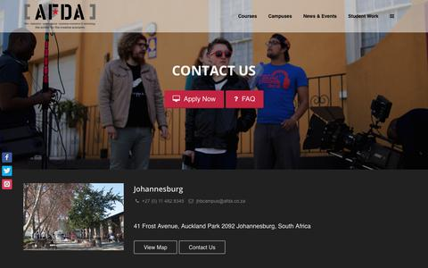 Screenshot of Contact Page afda.co.za - Contact AFDA - captured July 28, 2018