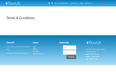 Screenshot of Terms Page flowlift.com - Terms & Conditions - captured Oct. 10, 2018