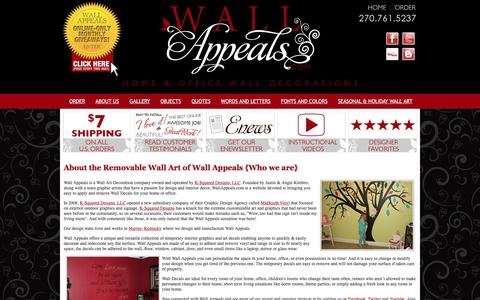 Screenshot of About Page wallappeals.com - About Wall Appeals, removable vinyl wall art and temporary decorative decals that can be applied to almost any smooth flat surface. Great for kids rooms, dorm rooms, offices, and practically anywhere you want unique temporary wall decor. - captured March 6, 2016