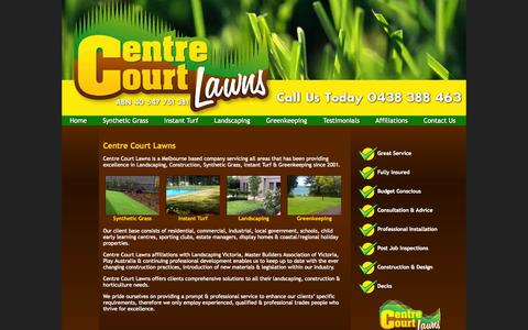 Screenshot of Home Page centrecourtlawns.com - Centre Court Lawns - Melbourne All Suburbs - 0438 388 463 - Synthetic Grass, Instant Turf, Greenkeepers, Landscapers & Gardeners - captured Jan. 18, 2015