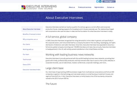 Screenshot of About Page executiveinterviews.biz - About Executive Interviews - Executive Interviews - - captured July 24, 2018