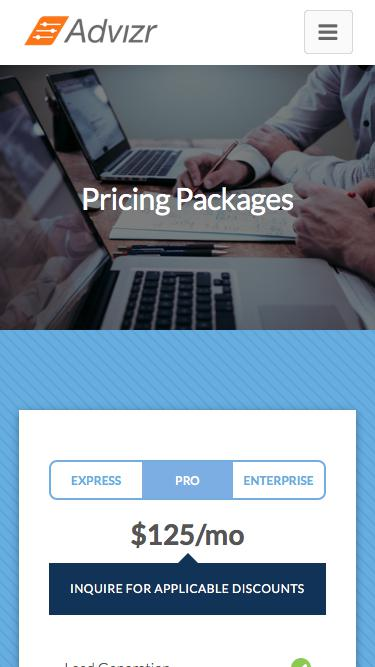 Screenshot of Pricing Page  advizr.com - Advizr Pricing and Subscription Options