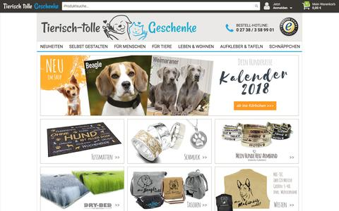 Screenshot of Home Page tierisch-tolle-geschenke.de - Tierisch tolle Geschenk Ideen für Hunde & Katzen-Liebhaber - Tierisch-tolle-Geschenke - captured Oct. 30, 2017