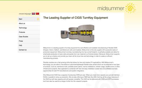 Screenshot of Home Page midsummer.se - Midsummer CIGS Thinfilm Turnkey Supplier - Start - captured Sept. 30, 2014