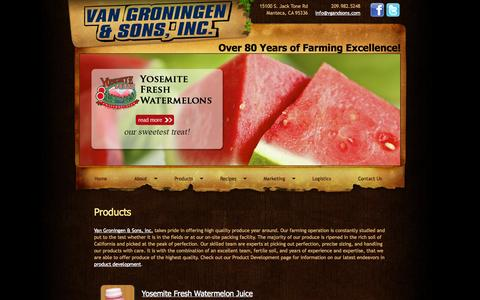 Screenshot of Products Page vgandsons.com - Van Groningen & Sons, Inc. - Our Products - captured Oct. 7, 2014