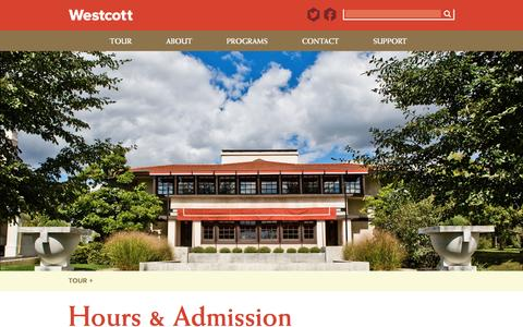 Screenshot of Hours Page westcotthouse.org - Hours & Admission | The Westcott House - captured Dec. 2, 2016