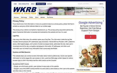 Screenshot of Privacy Page wkrb13.com - Privacy Policy - captured Nov. 2, 2014