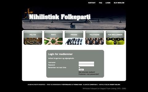 Screenshot of Login Page nihilistisk-folkeparti.dk - Nihilistisk Folkeparti - Login - captured Oct. 26, 2014