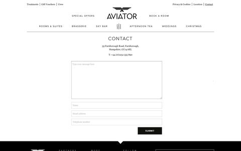 Screenshot of Contact Page aviatorbytag.com - Contact - Aviator - captured Oct. 4, 2018