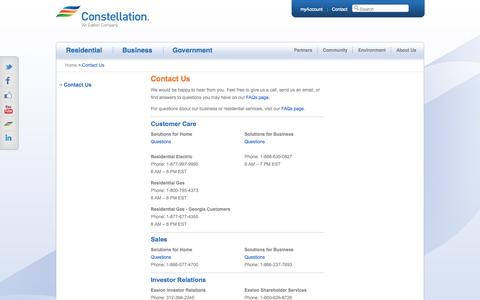 Screenshot of Contact Page Support Page constellation.com - Questions? Contact Constellation Customer Care - captured Oct. 26, 2014