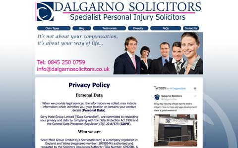 Screenshot of Privacy Page dalgarnosolicitors.co.uk - Contact Us - captured Aug. 5, 2018