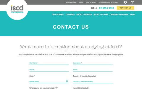 Screenshot of Contact Page iscd.edu.au - Contact a Student Advisor at inSTUDIO - captured Aug. 30, 2016