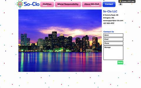 Screenshot of Contact Page so-clo.com - so-clo | Contact - captured Nov. 30, 2016