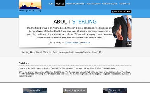 Screenshot of About Page sterlingcreditgroup.com - Company Information - Sterling Credit Group - captured Sept. 8, 2016