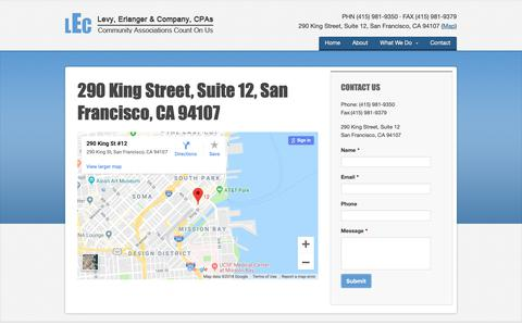 Screenshot of Maps & Directions Page hoa-cpa.com - 290 King Street, Suite 12, San Francisco, CA 94107 · Levy, Erlanger & Company, CPAs - captured Nov. 10, 2018