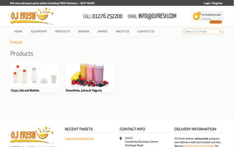 Screenshot of Products Page ojfresh.com - Products - captured Feb. 21, 2016