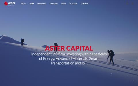 Screenshot of Home Page aster.com - Investing in Energy, Advanced Materials, Smart Transportation and IoT | Aster Capital - captured Feb. 6, 2016
