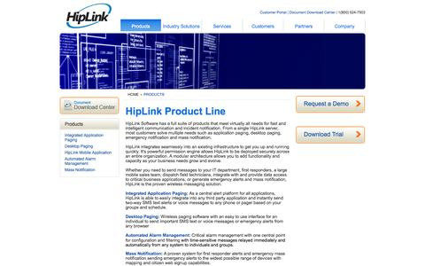 Screenshot of Products Page hiplink.com - Paging & Text Notification Software | HipLink Product Lines - captured Oct. 2, 2014