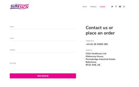 Screenshot of Contact Page suresign.com - Contact – Suresign - captured Sept. 25, 2018