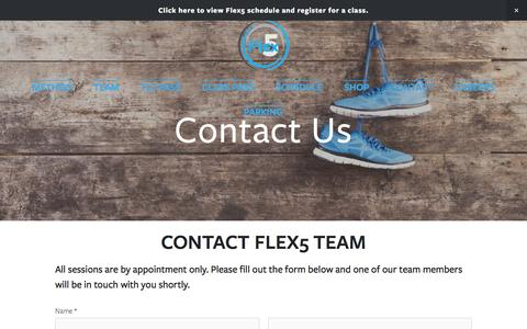Screenshot of Contact Page flex5clt.com - Contact Us — Flex5 – Charlotte's Premium Fitness and Wellness Center - captured March 1, 2016