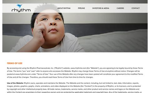 Screenshot of Terms Page rhythmtx.com - TERMS OF USE - Rhythm Pharmaceuticals - captured Oct. 19, 2018