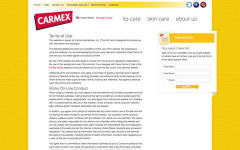 Screenshot of Terms Page mycarmex.com - Carmex Lip Balm Terms of Use | Carmex Skin Care Terms of Use | Carmex Terms of Use | Carmex Lip Balm & Skin Care Products - captured Sept. 23, 2014