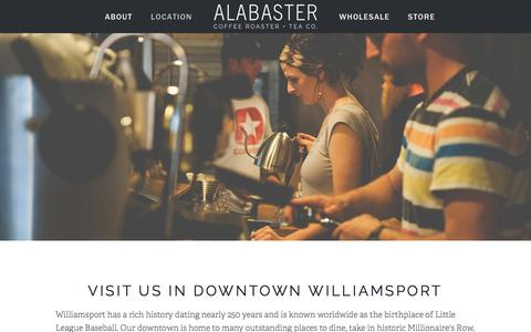 Screenshot of Locations Page alabastercoffee.com - Location — ALABASTER COFFEE - captured Feb. 5, 2016