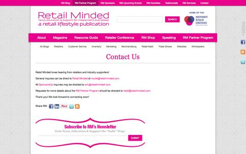 Screenshot of Contact Page retailminded.com - Contact Us ‹ Retail Minded - captured Sept. 19, 2014