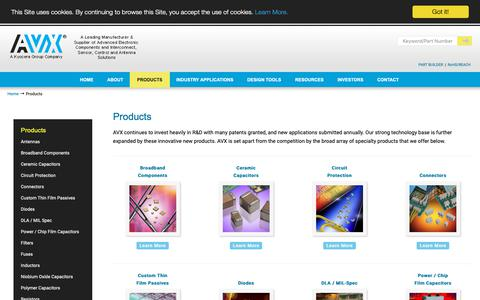 Screenshot of Products Page avx.com - Products | AVX - captured Dec. 9, 2018