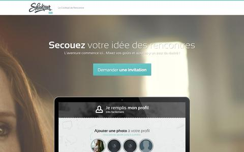 Screenshot of Home Page shakeur.com - Shakeur - Le Cocktail de Rencontre - captured Sept. 30, 2014