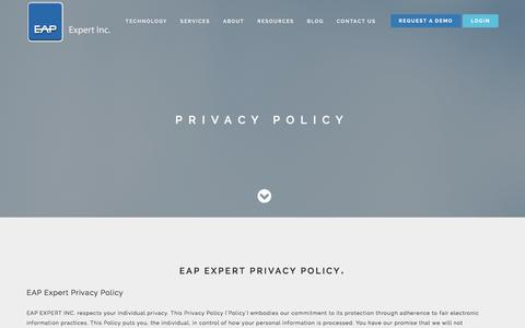 Screenshot of Privacy Page eapexpert.com - Privacy Policy - captured Jan. 24, 2016