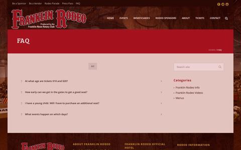 Screenshot of FAQ Page franklinrodeo.com - Franklin Rodeo   –  FAQ - captured Aug. 3, 2015