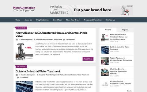 Screenshot of Blog plantautomation-technology.com - Plant Automation Technology Blog - captured July 14, 2016
