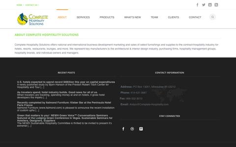 Screenshot of About Page complete-hospitality.com - About Us | Complete Hospitality Solutions - captured Oct. 3, 2014