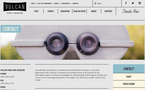 Screenshot of Contact Page visitvulcan.com - Contact | Vulcan Park & Museum: Birmingham, AL - captured Oct. 26, 2014