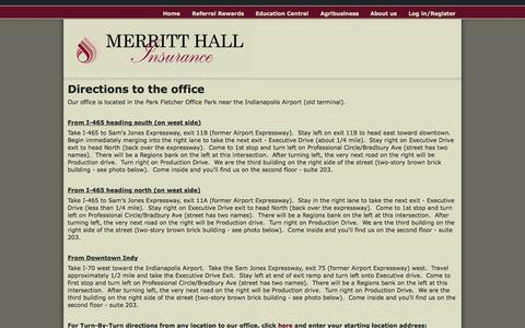 Screenshot of Maps & Directions Page merritthall.com - Directions to the office   Merritt Hall Insurance - captured Oct. 27, 2014