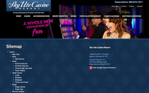 Screenshot of Site Map Page skyutecasino.com - Sitemap | Sky Ute Casino Resort - captured Oct. 26, 2014